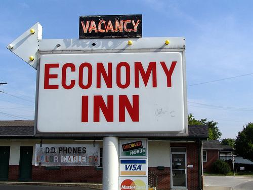 "Can't afford a room at the ""Economy Inn""? Join our discussion on Facebook about how the ongoing economic trouble has affected your life."