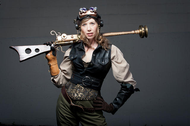 A performer from Tara Firm and the Lunar War Chronicles, one of shows appearing in the 25th annual Victoria Fringe Theater Festival.