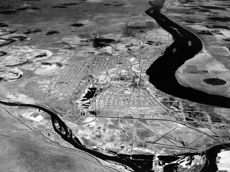 Officials report they have finished cleaning up roughly 500,000 tons of contaminated soil from trenches dug in the mid-1950s. The Hanford Nuclear Reservation is seen in this undated aerial photograph.