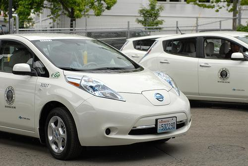 Battery powered Nissan Leafs in the Seattle city motorpool
