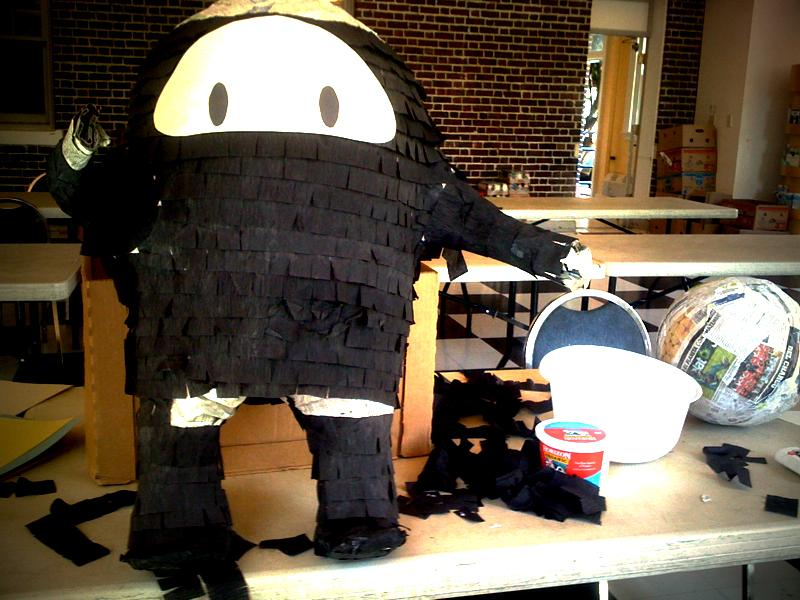 The Ninja pinata under construction by pinata maker Alex Lopez. Its destination: a birthday party for a 17-year-old girl.