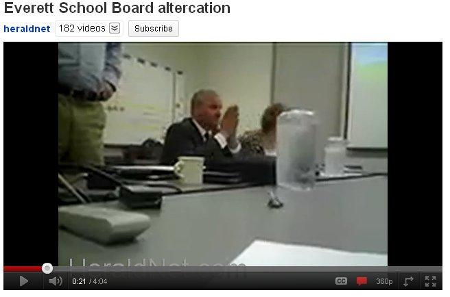 Image from the contentious Everett School Board meeting video posted on YouTube.