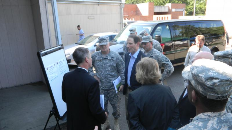 Oregon Sen. Ron Wyden Gets A Briefing At Joint Base Lewis-McChord On How Guardsmen Are Now Transitioned Home