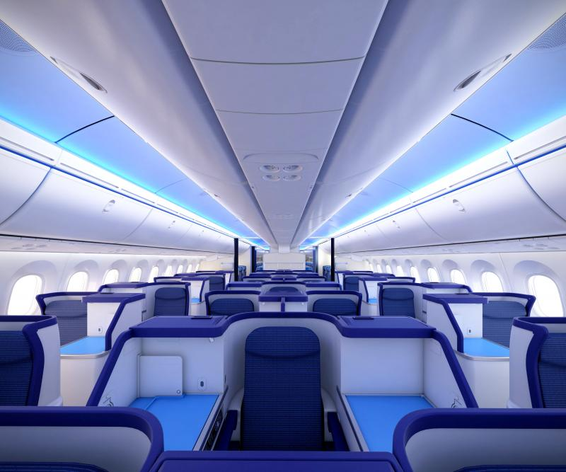 Interior of the new 787 being delivered to Nippon Airways.