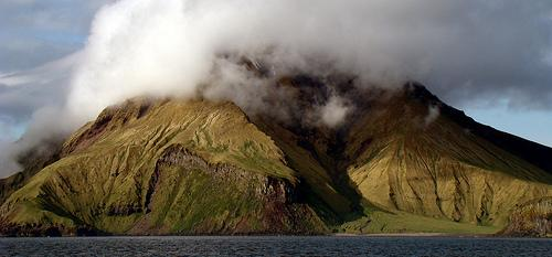 Image of Bobrof Island, just north of Kanaga Island, in the Alaska's Aleutian Island chain.