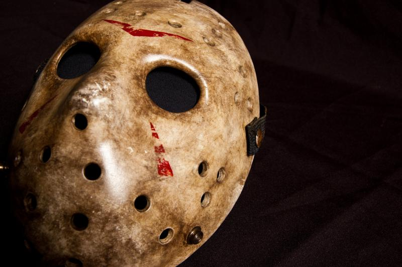 "Among the horror film props on display at ""Can't Look Away: The Lure of Horror Film"" at  Seattle's EMP Museum is the infamous mask from ""Friday the 13th."""