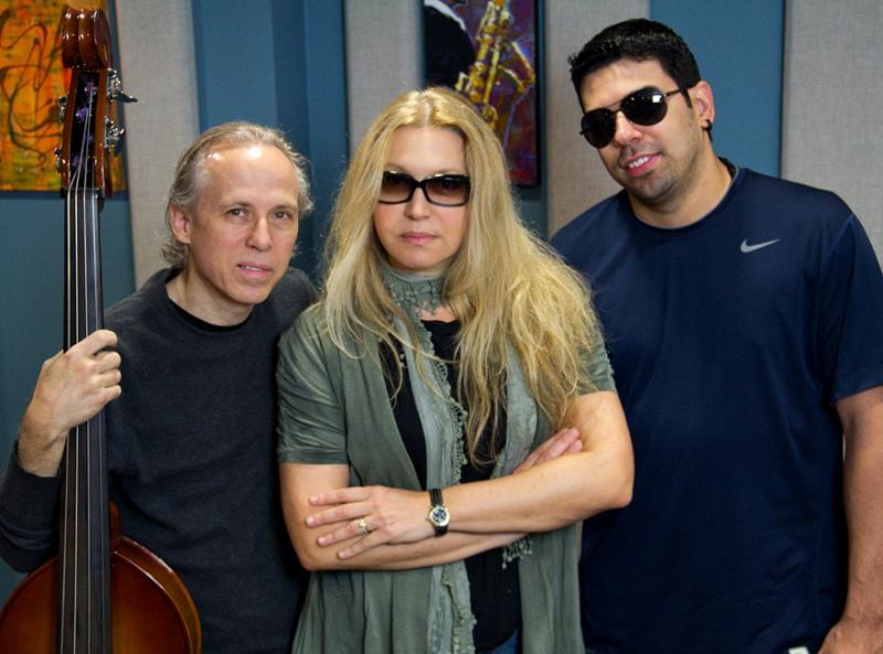 Eliane Elias (center) was joined by bassist Marc Johnson (left) and drummer Rafael Barata in the KPLU studios on September 9.