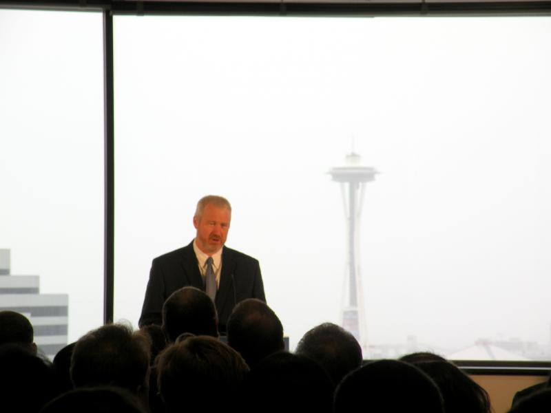 Seattle Mayor Mike McGinn presented his annual city budget at Seattle Central Community College.