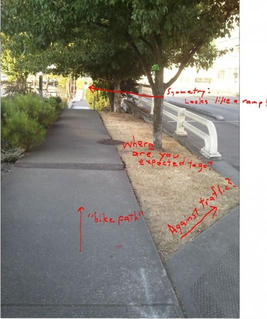 """Did a bike path just kill a Seattle cyclist?"" asks blogger Michael Van Baker on The SunBreak.  Red scribbles on this image point out the lack of signage and poor visibility on a route where a popular barista crashed and sustained fatal head injuries."