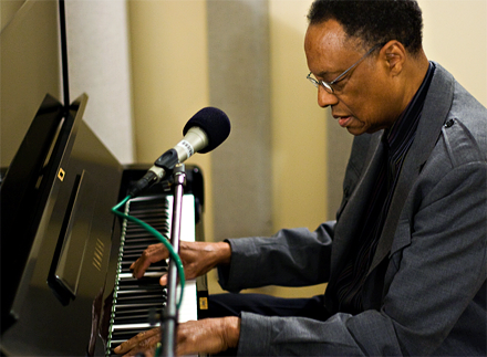 Ramsey Lewis photographed during a studio session at KPLU in 2009.
