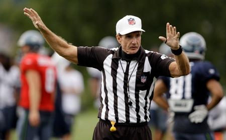 NFL referee Bill Leavy at a Seattle practice last year, where he admitted making bad calls in the Seahawks' loss to the Steelers in Super Bowl XL. Leavy is working Sunday's Seahawks/Steelers game - where the Hawks are 14-point underdogs.