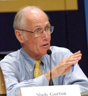 Former U.S. Senator Slade Gorton interviewing witnesses appearing before the 9-11 Commission in June of 2004.