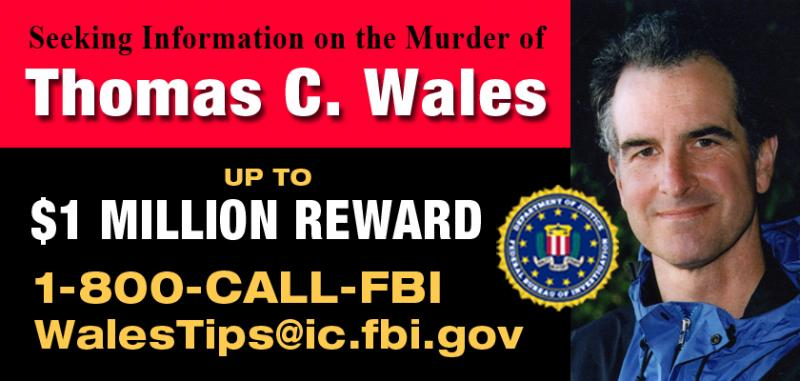 Image of the billboards put up to announce the reward for Tom Wales' killer.