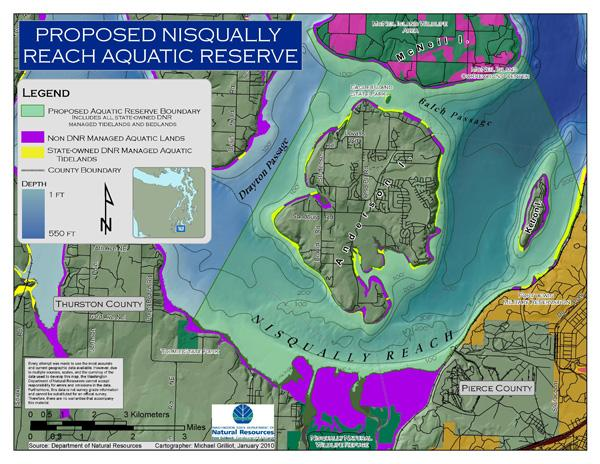 A management plan for the proposed Nisqually Reach Aquatic Reserve is to be signed at a ceremony today near Olympia.  It will be the seventh area to receive this designation as part of the state's efforts to clean up and protect Puget Sound.