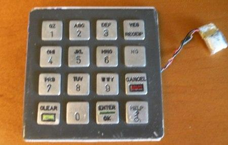 One of the phony keypads allegedly used by skimmers recently arrested in the Seattle area.