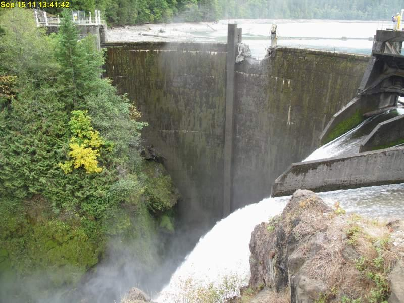 One of the dams to be destroyed in the Elwha River restoration project. A fish hatchery slated to be part of the restoration has raised concerns.