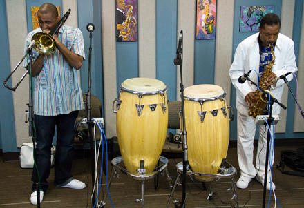 Glen David Andrews (left) and Donald Harrison stopped by the KPLU Seattle studios for an interview and performance on  September 1.
