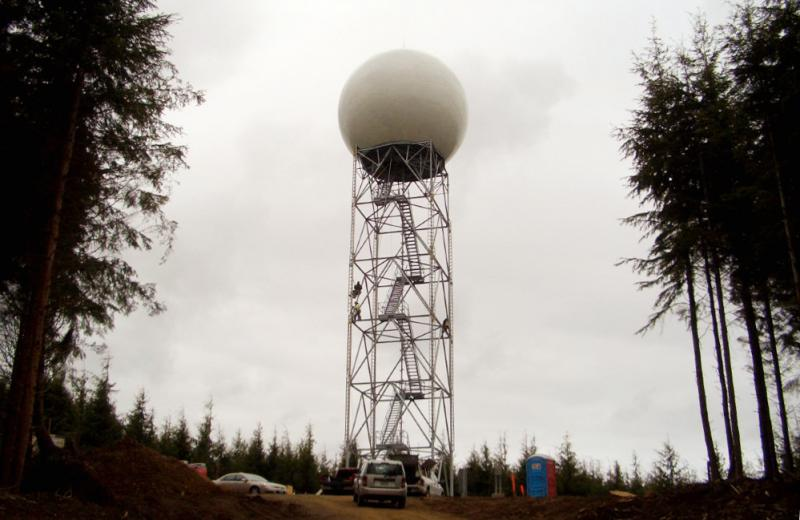 The new Doppler radar station near Copalis Beach, Wash., where today forecasters celebrated the new radar station – that gives them better information about Pacific storms – with a ribbon-cutting ceremony.