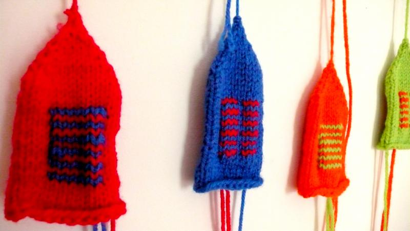 Klara Glosova explored the notion of hot and cold in a series of work that included a set of knitted sweaters meant to cover a set of ceramic popsicles she sculpted.