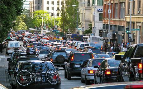A traffic jam from previous busy weekend in Seattle.