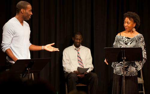 "Amontaine Woods, Carl Kennedy and Christian Jenkins in ""The Purification Process"" by Malka Lee, performed as part of the 2011 New Play Lab Showcase at Freehold Theatre in Seattle"