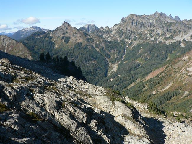 A view of Huckleberry Mountain from Rachel Lake Trail in the Alpine Lakes Wilderness.