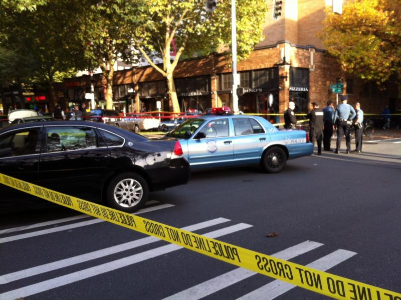 Crime scene at the corner of Seattle's 4th Avenue and Cedar Street.