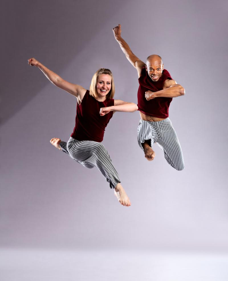 "Chamber Dance Company dancers General Hambrick and Christy McNeil in Bebe Miller's ""Cantos Gordos.""  The work, created in 1994, will be performed at the 2011 fall concert."