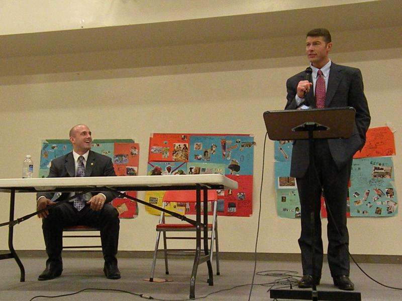 State Representative Mike Hope (L) , the Republican challenger, and incumbent Democrat Aaron Reardon at a candidates forum put on by the AAUW in Stanwood, WA