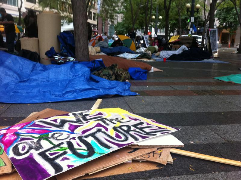 Scene at Occupy Seattle in Westlake Park on Monday.