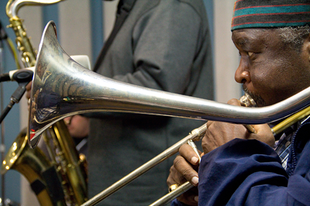 Wayne Henderson, one of the original Jazz Crusaders members, stopped by the KPLU studios with the rest of the band on Thursday for an interview & performance hosted by Abe Beeson.