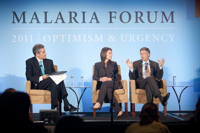 Bill and Melinda Gates answering questions from moderator Richard Besser, at the 2011 Malaria Forum in Seattle.