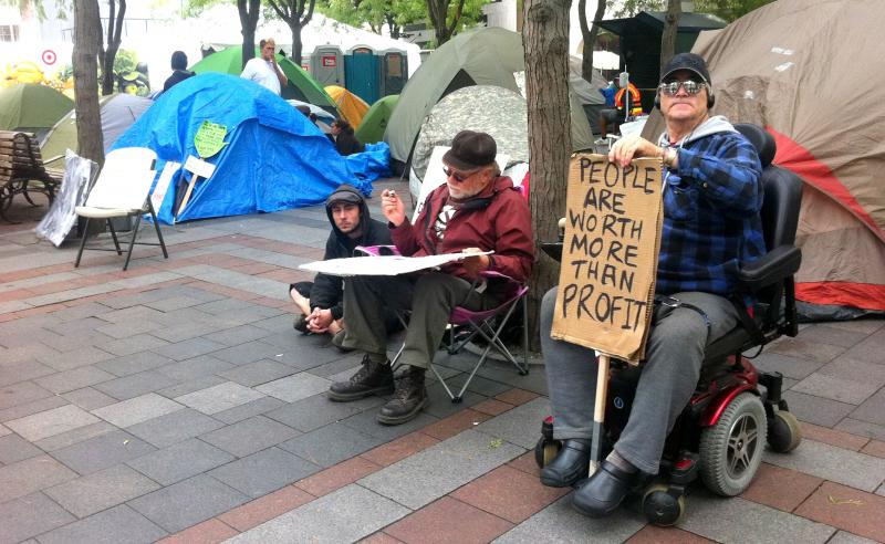 Members of Occupy Seattle on Monday afternoon.