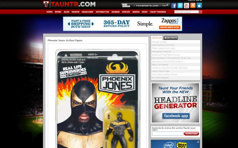 In this screen grab, Tauntr.com has put up a 'parody' of an action figure featuring Seattle 'superhero' Phoenix Jones.
