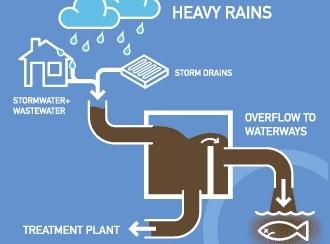 Heavy rains can exceed the capacity of combined sewer/stormwater drainage systems, causing raw sewage to flow into local waterways