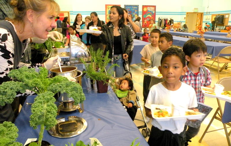Pamela Hinckley (left), CEO of Tom Douglas Restaurants, serves samples of Pollock Provencal to students at Roxhill elementary. The baked fish dish is one of several new recipes created by local gourmet chefs to entice more kids to eat school lunch.