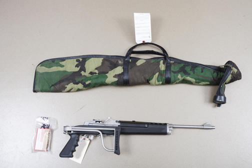 The seized rifle photographed at the Seattle Police Evidence Unit.