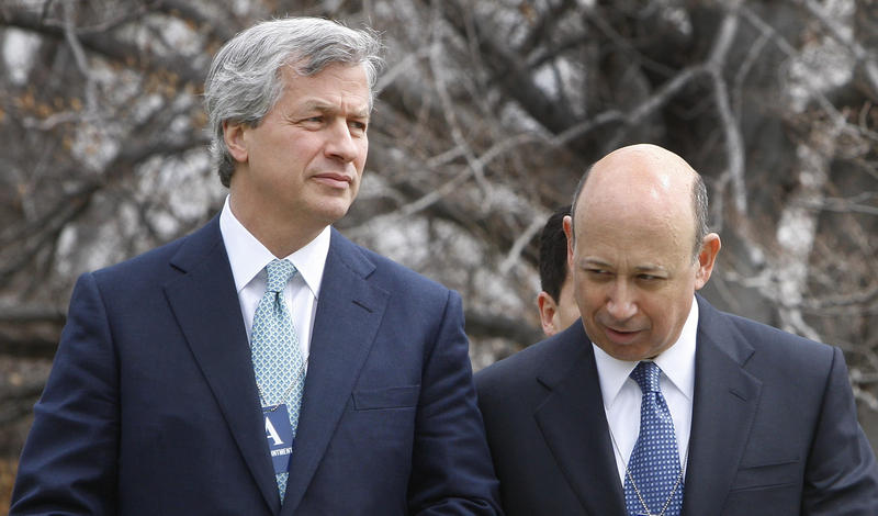 JP Morgan Chase & Co. Chief Executive Officer Jamie Dimon, left, and Goldman Sachs Chief Executive Officer Lloyd Blankfein, leave the White House in Washington, after a meeting between chief executives and President Barack Obama in January 2010.