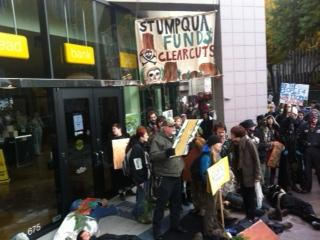 Protestors in front of Umpqua Bank in Eugene, Ore.