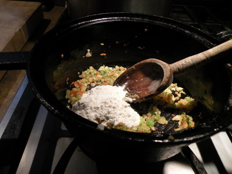 Add flour and combine with aromatics.  In this case I added 3