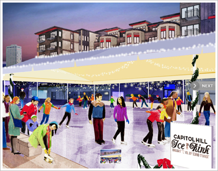 Artist rendering of the Capitol Hill skating rink.
