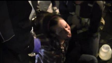 Jennifer Fox is shown in a screen grab from a YouTube video shot Nov. 15 during the protest in Seattle.