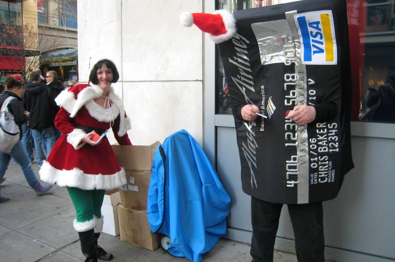 A Christmas credit card promotion on Seattle streets on black Friday in 2007. Occupy Seattle protesters say they want to join the festivities not disrupt the activities.