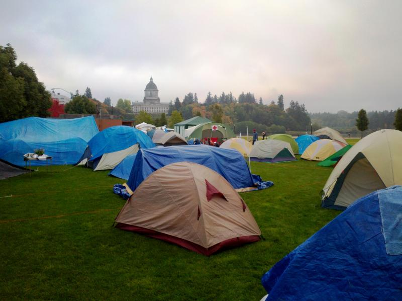 The scene at Occupy Olympia.