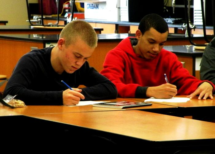 Highline Public Schools encourages sophomores, such as Cordae McAfee (right), to take the PSAT by paying the testing fee. McAfee says he didn't know enough about the test to care about his results but took it anyway.