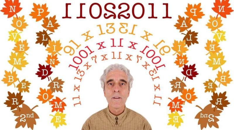 Professor Aziz Inan created this palindrome image (with his face in the center) in honor of 11022011, a very rare eight-digit palindrome date.