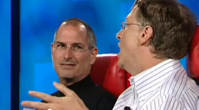 Steve Jobs and Bill Gates talking history in the PBS documentary.