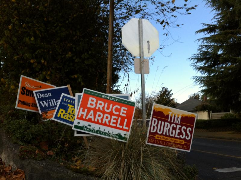 Election day signs on Queen Anne Hill.