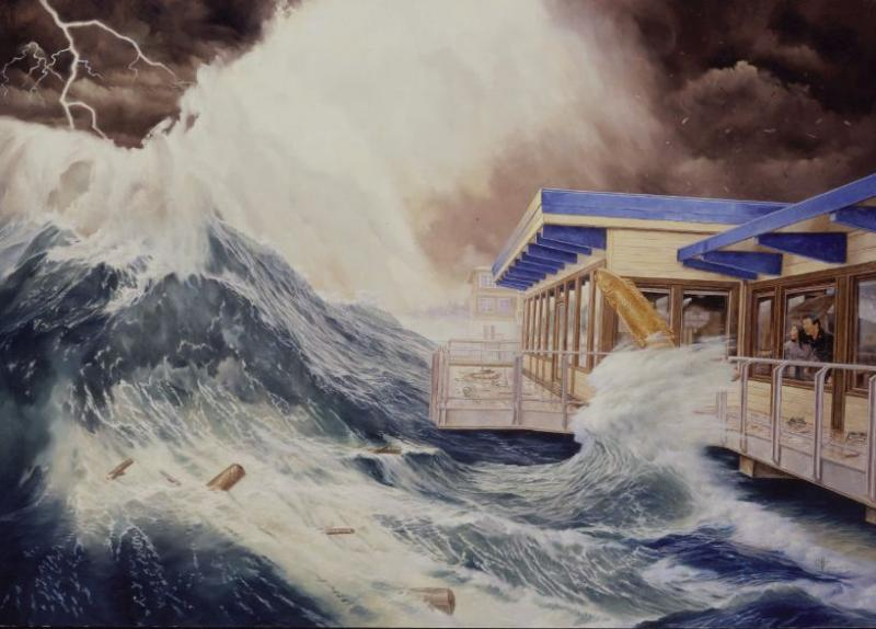 Commemorating the windstorm of 2003, this mural by Chris Hopkins is at Ivar's rebuilt restaurant in Mukilteo.