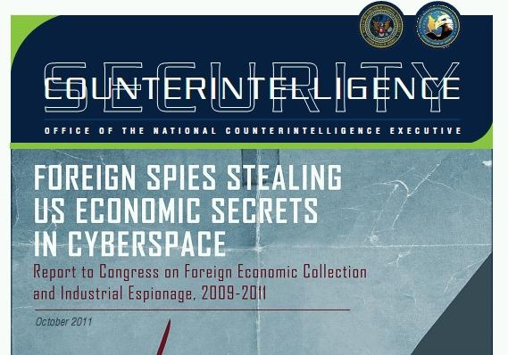 The cover of the cyber espionage report to Congress